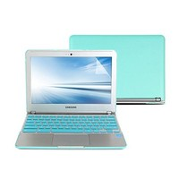 GMYLE 3 in 1 Bundle Turquoise blue Hard Case Cover, Silicone Keyboard Cover(US Layout), Screen Protector for Samsung Chromebook Series 3 11.6 inch (XE303C12)