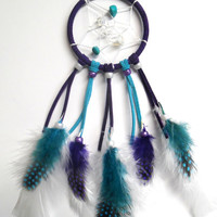 Purple and Turquoise Car Dream Catcher