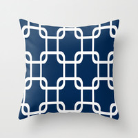 Pillow Cover with Insert Nautical Chain Link Squares Throw Sewn or Zipper Closure Double Sided Custom Colors Navy 14x14 16x16 18x18 20x20