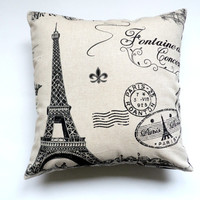 Eiffel Tower Pillow, 14X14 Slipcover, Cream and Black, Shabby Chic with Envelope Back, Home Decor