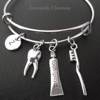 Dental hygiene toothpaste, tooth and toothbrush bracelet, Stainless Steel Expandable Bangle, monogram personalized item No.229