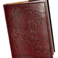 """Embossed Genuine Leather Refillable Journal (5"""" x 7"""") Miles to go World Traveler"""