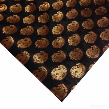 Black and Gold Jacquard Silk Fabric