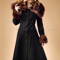 30s Pearl Textured Coat in Black