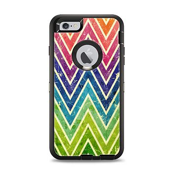 The Grunge Vibrant Green and Neon Chevron Pattern Apple iPhone 6 Plus Otterbox Defender Case Skin Set