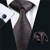 Men Tie Brown Novelty Silk Jacquard Classic Tie Hank Cuff links Set Ties For Men Business Wedding Party
