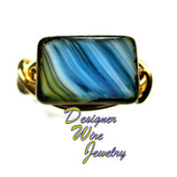 DWJ0281 Gorgeous Czech Glass Desert Mirage Gold Wire Wrapped Ring All Sizes