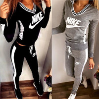 [Free Shipping] (2 Pcs) Nike Printed Short Sleeve Women Hoodie Blouse Top Shirt and Sweatpants Bottom Set