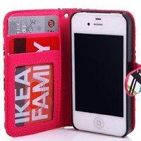 Thinkcase iPhone 4 4S New tribal Design Premium PU Leather Wallet Case With Card Holder for iPhone 4 4s 011# with Thinkcase Stylus Pen