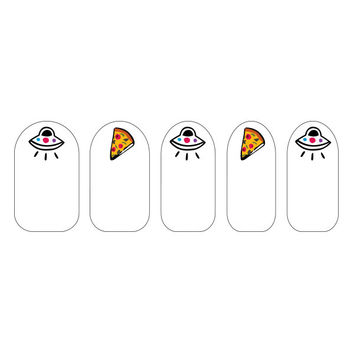 Pizza & Alien Nail Art