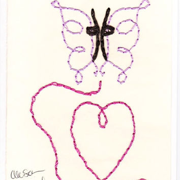 Blank Hand Made Embroidered Blue or Purple Butterfly Heart Greeting Gift Thank-you Valentines Day Note Card with Envelope BUY3GET1FREE