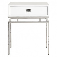 Cayson 1 Drawer Nickel Side Table | White