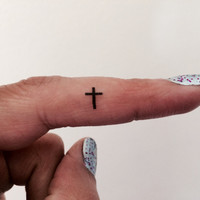 10 Cross Temporary Tattoo Tiny Cross / Fake Tattoos / Set of 10 / Tattoo