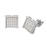 Hip Hop Screwback Stud Earrings Sterling Silver 8mm Pave CZ Square Edge Overhang