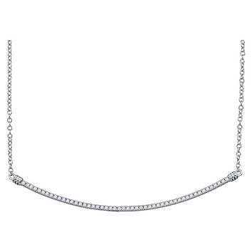 10k White Gold Round Diamond Curved Slender Bar Pendant Necklace 1/4 Cttw