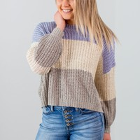 Just This Way Sweater-Blue/Grey
