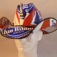 Beer Box Cowboy Hats. Made from recycled Pabst Blue Ribbon Beer boxes. Beerhat.