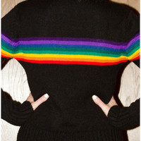Vintage 70s 80s 90s Shenanigans Brand Hipster Club Kid Rave Gay Festival Rainbow Stripe Black Sweater Rare Ski Small Medium