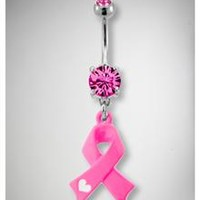 14 Gauge Pink Breast Cancer Banana Belly Button Ring