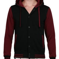 LE3NO Mens Fleece Baseball Jacket with Hoodie