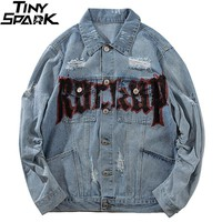 Hip Hop Denim Bomber Jackets Streetwear Vintage Print Rock Jacket Jeans Ripped Holes Mens Short Denim Jacket Distressed 2018