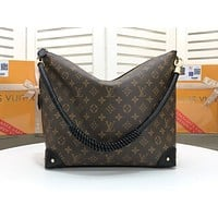 """LV""Louis Vuitton Fashion old flower color matching double-sided shoulder bag handbag shopping bag"