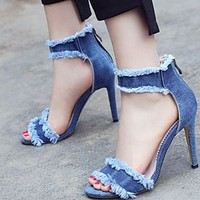 Hot style sexy stiletto high heel open-toe denim sandals shoes