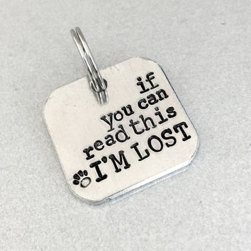 Small dog ID tag / Cat ID tag / If You Can Read This I'm Lost / Pet ID tag / Customized