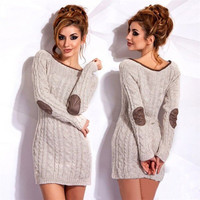 Long Sleeve Round Collar Women Knitted Dress Plus Size Contrast Colour Casual Sweater Dresses LX207