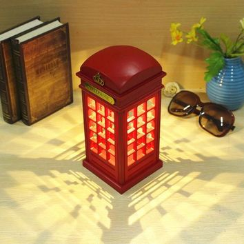 Novelty USB Rechargeable Touch Telephone Booth LED Night Light Adjustable Lighting Decoration Table Lamp