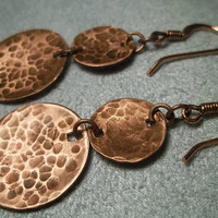 Copper Disc Earrings, Hammered Copper, Dangly Earrings, Copper Jewelry, Rustic, Womens Fashion,
