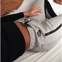 """NIKE""Fashion Print Solid Grey Stretch Jogging Yoga Gym Sports Fitness Women Sweatpants Trousers Pants"