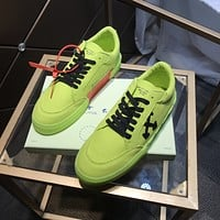 OFF WHITE Men Fashion Boots fashionable Casual leather Breathable Sneakers Running Shoes
