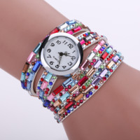 Bling Luxury Gemstone Leather Bracelet Watch