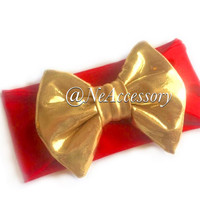 Gold Baby Headband, Gold and Red  Big Bow Headband, Infant Headband, Baby Girl Headband,