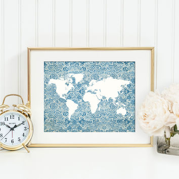 Blue Floral World Map Print, Map Silhouette Poster, Cottage Chic Office Decor, Travel Themed Wall Art