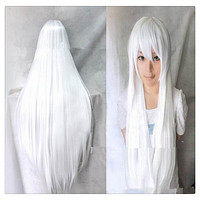 """Women Fashion 100CM/39"""" Long straight Cosplay Fashion Wig heat resistant resistant Hair Full Wigs  White"""