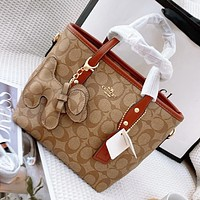 Coach mini shopping bag delivery puppy pendant handbag-shoulder bag brown shoulder strapes