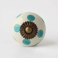 Dotted Zinnia Knob by Anthropologie in Blue Size: One Size Knobs
