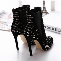 Women Black Burgundy Ankle Rivet Boots Shoes