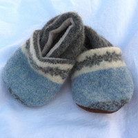 Upcycled Slippers, Infant Slippers, Baby Slippers, Toddler Slippers, Upcycled Baby Booties, Blue Baby Booties
