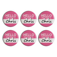 Chris Hello My Name Is Plastic Resin Button Set of 6