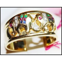 14K Yellow Gold Jewelry Diamond Multi Gemstone Elephant Ring [RR003]