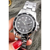 Rolex Stylish Ladies Men Personality Quartz Sport Movement Couple Watch Wristwatch Sliver Watchband Black Dial I-Fushida-8899