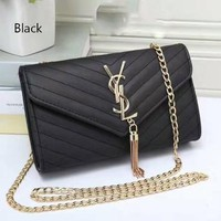 YSL tassell Women Shopping Leather Metal Chain Crossbody Satchel Shoulder Bag F black
