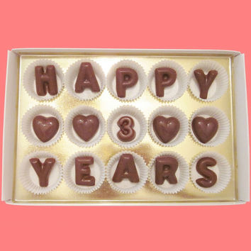 Happy 3 Years Large Milk Chocolate Letters Three Third Anniversary Gift for Boyfriend Girlfriend Husband Wife Made to Order