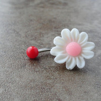 White Daisy Flower Belly Button Ring Jewelry