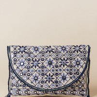 Lucy Navy Embellished Mini Pom Crossbody Clutch