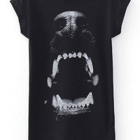 Black Dog Print Short Sleeve Long Graphic Tee