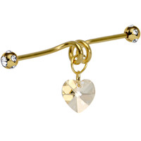 Gold Titanium Heart Dangle Coil Industrial Barbell 40mm | Body Candy Body Jewelry